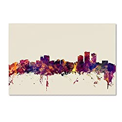 Anchorage Alaska Skyline By Michael Tompsett, 12x19-inch Canvas Wall Art