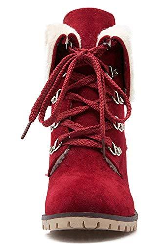 Lace Mid Block up Lined Heel Fur Ankle Boots Warm Womens Winter Wine Vitalo 1qTU8w1