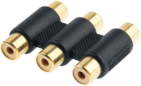 DIYオーディオおよびビデオケーブル用オーディオアダプターオーディオケーブル、小型、軽量、持ち運びが 金メッキメスコネクタ(ブラック)、小型、軽量で持ち運びが簡単にRGB女性