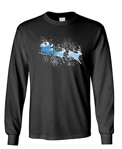 Santas Sleigh Silhouette - Reindeer Claus - Long Sleeved Tee, S, Black -