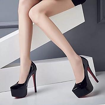 8f053e62153a80 HUAIHAIZ Damen High Heels Pumps Schuhe mit hohen Absätzen PU-Buchse Buchse  sexy 15 cm