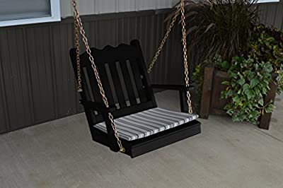 2 Ft Pine Outdoor Royal English Chair Swing Amish Made USA- Black Paint