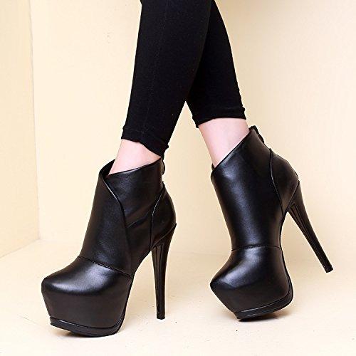 black otoño Heel Transpirable Sexy Martin Corto Cabeza Cuadro Botas Impermeable Invierno Botas Hembra Redonda e Super y AJUNR High Fino 51f6Hwqq