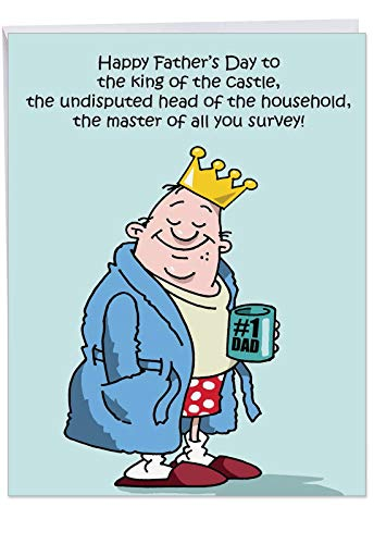 J0239 Jumbo Funny Father's Day Card: King of the Castle With Envelope (Extra Large Version: 8.5'' x -