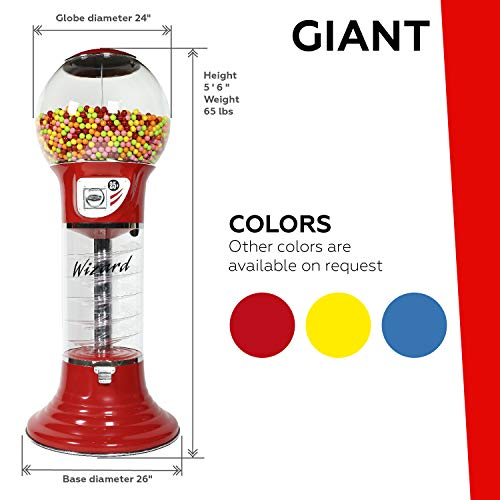 Giant Wizard Spiral Gumballs Vending Machine Height 5'6'' - $0.25 - for Gumballs (Yellow) by Global Gumball (Image #1)