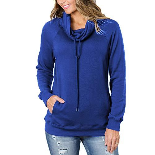 (KUREAS Plain Color Hoodie Pullover Sweatshirt Long Sleeve Tops Drawstring with Pocket Royal Blue)