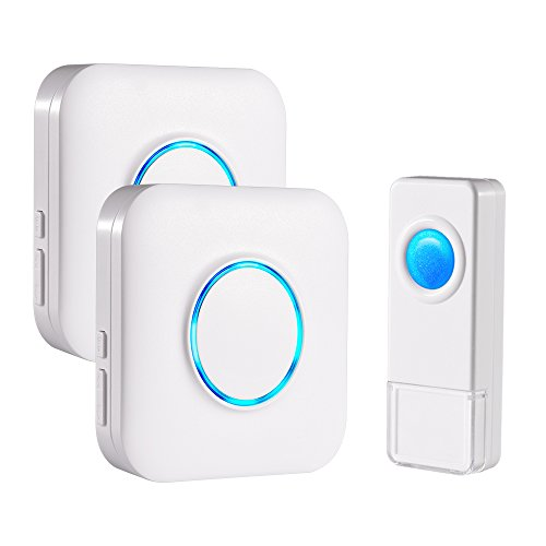 Bitiwend Wireless Doorbell Kit,Operating at 1000 Feet with 52 Chimes,4 Level Volume, 2 Receivers & 1 Weatherproof Push Button with Sound and LED Flash,Low Power Consumption (Level Door)