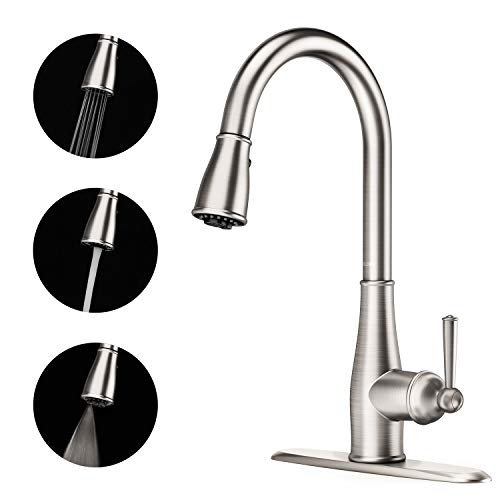 - Full Copper Kitchen Faucet - 3 Function Spray Single Handle High Arc Brushed Nickel Pull out Kitchen Faucet, Lead Free Anti-Fingerprint Kitchen Sink Faucets with Pull down Sprayer
