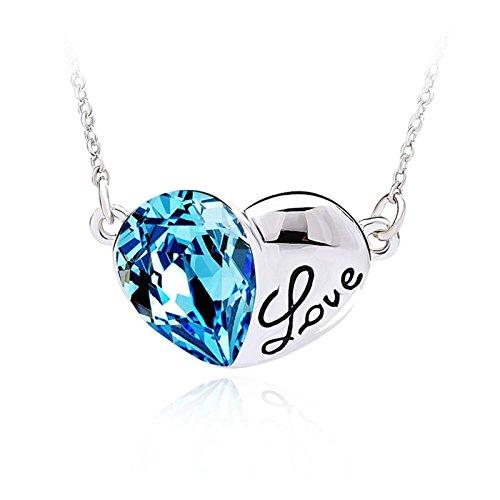 Epinki Women Pendant Necklace Heart Shape Love Blue Chain Le