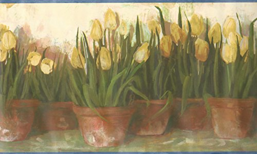 Wallpaper Border Watercolor Yellow Potted Tulips Gardening Floral - Wallpaper Border Floral Potted