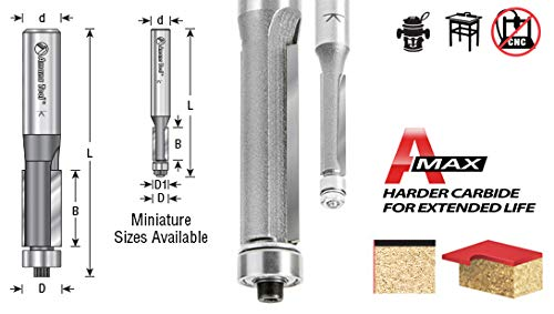 Amana Tool 47102 Flush Trim with Ball Bearing Guide 3/8-Inch Diameter by 1/2-Inch Cutting Height by 1/4-Inch Shank Carbide Tipped Router Bit