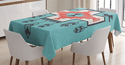 Ambesonne Tribal Tablecloth, Hand Drawn Dreamcathcher Folkloric Birds Image, Dining Room Kitchen Rectangular Table Cover, 52″ X 70″, Teal Coral