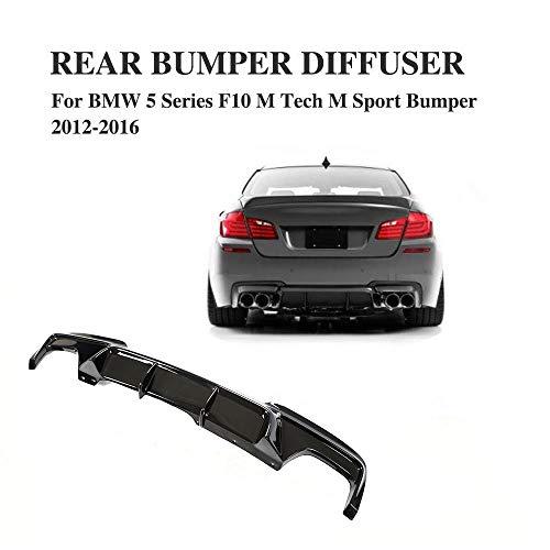 JC SPORTLINE fits BMW 5 Series F10 528i 530i 535i 550i M-Sport Bumper 2011-2017 Rear Diffuser Bumper Lip Spoiler ( Black