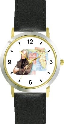 Price comparison product image Andrew Jackson (Old Hickory) - 7th US President - WATCHBUDDY DELUXE TWO-TONE THEME WATCH - Arabic Numbers - Black Leather Strap-Size-Children's Size-Small ( Boy's Size & Girl's Size )