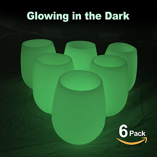 Silicone Wine Glasses Unbreakable Stemless Outdoor Rubber Wine Cups 100% Silicone Dishwasher Safety - Collapsible Party Cups for Camping Pool Picnic/Glow 12 oz (Set of (12 Ounce Glow Cup)