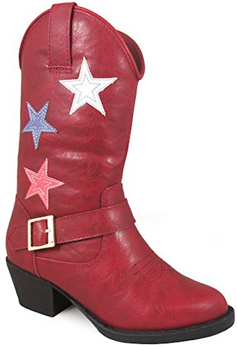 Smoky Mountain Children's Star Bright Stitched Design Western Toe Cowboy Heels Red Riding Boots -