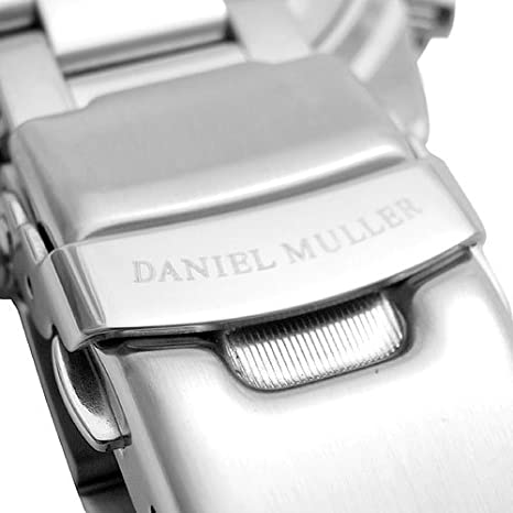 Amazon.com: DANIEL MULLER watch chronograph Black x Silver for men DM-2003BK: Watches