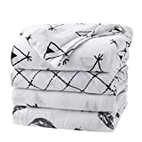 Baby Swaddle Blanket Upsimples Unisex Swaddle Wrap Soft Silky Bamboo Muslin Swaddle Blanket Neutral Receiving Blanket for Boys and Girls, Large 47 x 47 inches, Set of 4-Arrow/Feather/Tent/Crisscross: more info