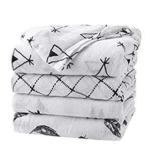 Baby Swaddle Blanket Upsimples Unisex Swaddle Wrap Soft Silky Bamboo Muslin Swaddle Blankets Neutral Receiving Blanket for Boys and Girls, Large 47 x 47 inches, Set of 4-Arrow/Feather/Tent/Crisscross