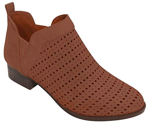Best Tan Caged Low Platform Bootie Size 9 Faux Suede Leather Cut Out Round Toe Quality Cute Fun Short Cowboy Party Dress Booty Boot Shoe Idea for Sale Women Teen Girl Ladies (Size 9, Tan)
