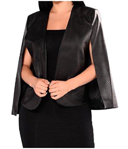 Nicellyer 婦人用セクシーな純粋なフェイクレザーのpuを辛抱してエレガントな夕方クラブクロークスーツジャケット