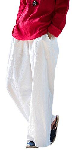Soojun Women's Casual Loose Fit Wide Leg Cotton Linen Palazzo Pants 1 White