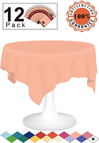 12 Pack Plastic Tablecloth Peach Disposable Table Covers Premium 84 Inches Round Table Cloth for Round Tables up to 6 Feet and for Picnic BBQ Birthdays Weddings any Events Occasions, PEVA Material