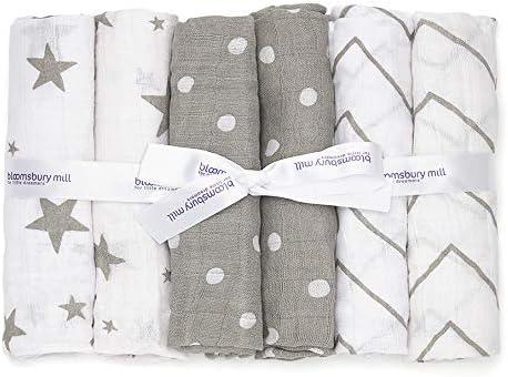 Bloomsbury Mill 100/% Coton de Qualit/é Sup/érieure Blanc Lot de 12 Carr/és de Mousseline Pour B/éb/é 70cm x 70cm