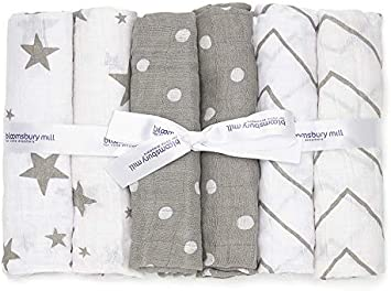 Bloomsbury Mill - Muselinas de Alta Calidad - 100 % Algodón Puro - Estampado de Estrellas, Espiga y Lunares – Gris y Blanco - Juego de 6 - 70 x 70cm
