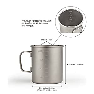 450ml Camping Cup Without Lid, Extra Strong & Ultra Lightweight (Ti) Camping Mug With Measurement Marks, Titanium Cup for Hiking / Backpacking / Camping in Easy to Store Cloth Case (450ml Without Lid)
