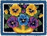 Caron Wonderart 20x27 Latch Hook Kit: Pot Of Pansies