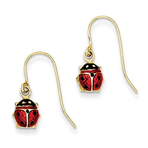 Lex & Lu 14k Yellow Gold Enameled Ladybug Dangle Earrings ()
