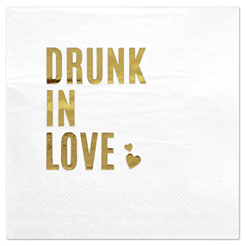 Love Cocktail - Andaz Press Drunk in Love, Funny Quotes Cocktail Napkins, Gold Foil, Bulk 50-Pack Count 3-Ply Disposable Fun Beverage Napkins for Engagement Party, Bridal Shower, Wedding Reception Bar