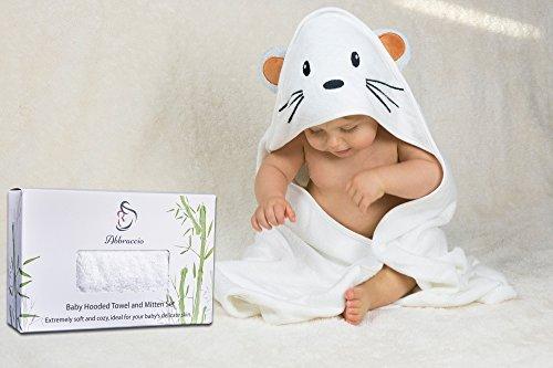 Abbraccio Bamboo Hooded Baby Towel and Mitten Set