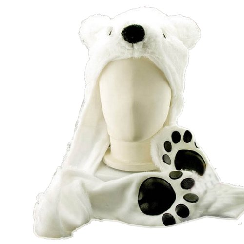 Costume Polar Bear Plush with Mittens by HatButik. (Bear Hat With Mittens)