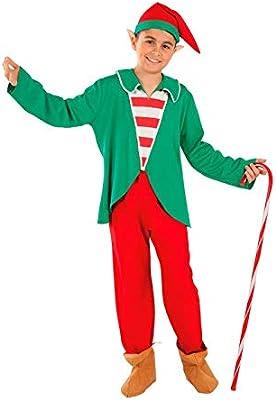 DISBACANAL Disfraz Elfo de la Navidad para niño - -, 8 años ...
