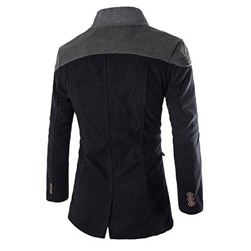 Smart teau Chaud Déport Hommes Bouton Long Veste Trench Noir Hiver De Man fAwA8qp4