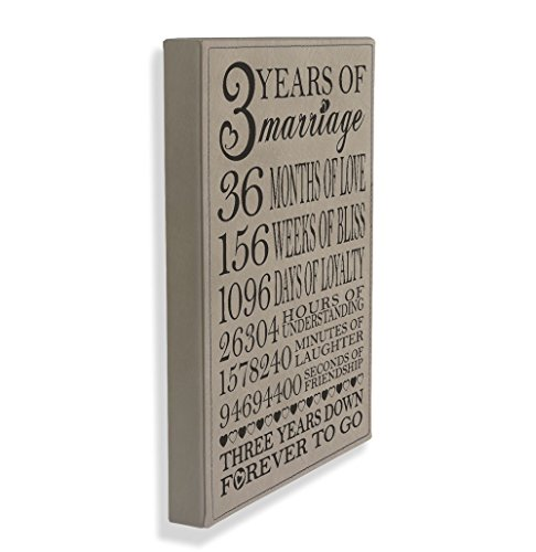 Kate Posh - Our 3rd Wedding Anniversary, 3rd Anniversary Gifts for couple, 3 Years Anniversary, 3 Years of Marriage, Third Anniversary Gifts for Her, Gifts for Him - Engraved Leather Plaque by Kate Posh (Image #1)