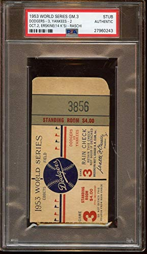 1953 World Series Ticket Stub New York Yankees at Brooklyn Game 3 PSA Authentic - MLB Unsigned Miscellaneous ()