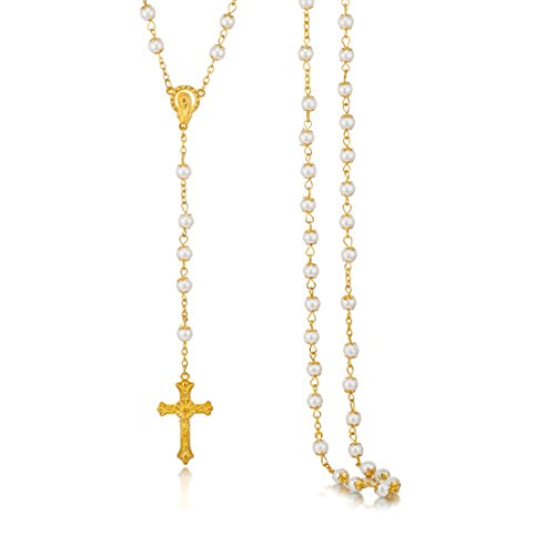 JoinLove Rosary Necklace for Women Pearl Beads Gold Chain Crucifix Pendant Rosary Necklace (Pearl Crucifix Rosary)
