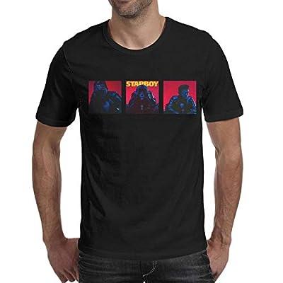 KINKIN Mens Guys The-Weeknd-Three-Painting- Short Sleeved Cotton Tee Shirt