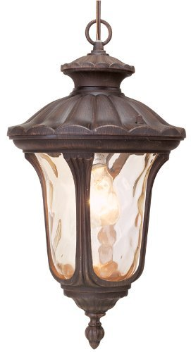 (Livex Lighting 7654-58 Oxford 1 Light Imperial Bronze Cast Aluminum Hanging Lantern with Light Amber Water Glass by Livex Lighting)