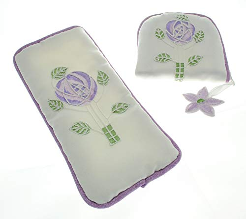 Justina Claire Jewlry Purse/Eyeglasses Case Gift Set in a Mackintosh Purple Rose Design - Mackintosh Rose Gift Set