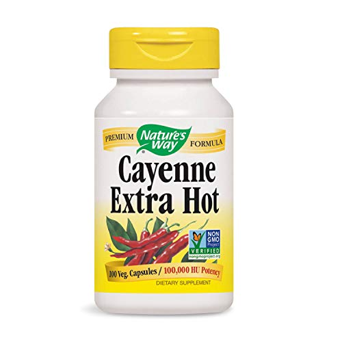 Nature's Way Cayenne Extra Hot 100, 000 HU Potency, 100 Vcaps (Packaging May Vary)