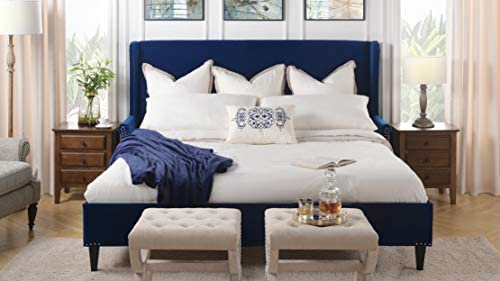 Jennifer Taylor Home Clarice Wingback Accent Platform Bed King Navy Blue