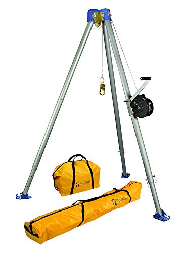 - FallTech 7505S Confined Space Tripod Kit - Tripod Kit with 7275 Tripod, 7290S Winch, 7280 and 7282 Storage Bags, Stainless Steel Cable, Natural