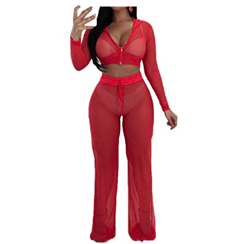 Hooded Tunic Pants - Yizenge Women's Beach Bikini Swimsuit Cover up Mesh Hoodies Crop Top Long Pant Two Pieces Outfits (Medium, Red)