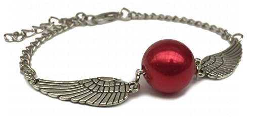 Trinity Silver Angel Wings Snitch Bracelet with Small Golden Globe