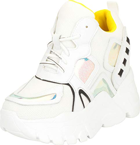Cambridge Select Women's 90s Ugly Dad Rave Hidden Wedge Extra High Chunky Platform Fashion Sneaker,6 B(M) - Boot Rave