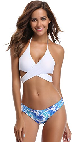 SHEKINI Womens Bathing Suits Floral Printing Swim Bottoms Padded Halter Bandage Bikini Two Piece Swimsuits (Small, Venice White)
